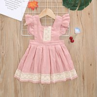 Retail Ins 2017 Summer New Girl Dress Pink Lace Flare Sleeve Cotton Princess Mini Dress Children Clothing 1-6Y 1561 B3