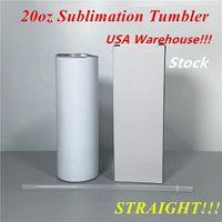 Armazém local! Sublimação Tumbler 20oz Tumbler em linha reta copos retos com palhas e tampas de aço inoxidável Slim Tumbler US-noad Shipping 50pcs / Case