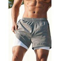 Pantalones cortos para hombres Siperlari Sports Fake Dos camuflaje Correr Pantalones Summer Secado rápido Fitness Jogger Doble Capa