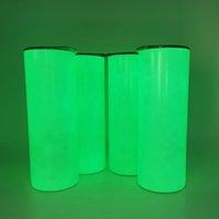 Сублимационная прямая светящаяся бутылка 20 унций цилиндра в темноте из нержавеющей стали Изолированная термос флуоресценции белый чистый теплопередача воды