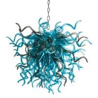 Руководное стекло хрустальные люстры светодиодные художественные подвесные светильники моря синий w80xh70cm крытое освещение современное украшение гостиной