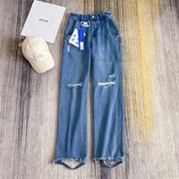 Jeans Männer Frauen 1 Hohe Qualität Shooting Franyed Style Denim Jeans Schadenshose