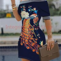 Womens Designer Slash Neck Dress Womens Digital Printed Dresses Sexy Slim Pencil Dress For Women