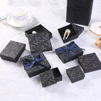 Print leaves black Jewelry boxes Organizer Storage Constellation stud Gift case Necklace Earrings Ring Box Paper Packaging Container