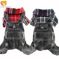 Собака одежда мода черный джинсовый комбинезон щенок кошка джинсы комбинезон милый плед четыре ножки трексуита одежда для чихуахуа