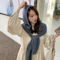 Scarves Wool Solid Scarf Women Hooded Knitted Shawl Hat Travel Warm Multifunction Hijab 2021 Winter Fashion Designer