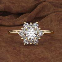 Modalità di fiocco di neve di lusso Modalità di fiocco di neve giallo oro rosa cristallo zircone anello di pietra anello vintage anelli di nozze per le donne