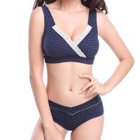 Bras Sets Underwear Women's Intimates Bra & Briefs 100% Cotton Front V Shape Lowrise Three Quarters Wirefree