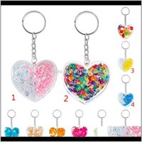 Rings Jewelry Drop Delivery 2021 Fashion Heart Shaped Crystal Stone Acrylic Ring Keyfob Pendant Keychain Bag Keyring Key Chain Nzy1R