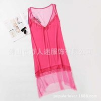 2020 best selling pure color screen hollow perspective sexy slim dress new net red underwear