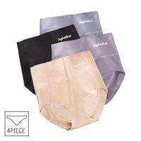 Women's Panties 4pcs lot Sexy Women Ice Silk Briefs Seamless Underwear High Waist Pants Comfort Lingerie Female Underpants Thongs