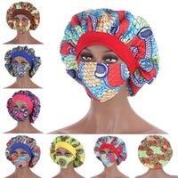 Chapeau de chapeau de chapeau d'élasticité de satin africain pour femme floral imprimer Night Casquette de nuit avec masque Perte de cheveux Casquettes Casquette islamique NightCap Beanie / Crâne
