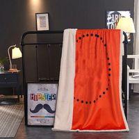2021 Moda Designer cobertores para sofá-cama suave laranja carta de laranja decoração de casa lance cobertor com pele de cordeiro alta qualidade