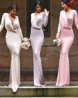 Custom Made Sexy Cheap Sheath Bridesmaid Dress With Long Sleeves New Fashion V-Neck Floor Length Gorgeous Maid Of Honor Gowns