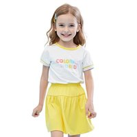 Summer Girls Clothes 2Pcs Set Rainbow Color Letter Printing Short Sleeve T-shirt + Skirt For 3 To 8 Years Old Girl Clothing Sets