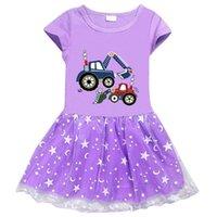 2021 new girls dress cotton excavator Max cartoon star moon mesh short sleeve princess skirt