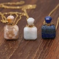 Chains Natural Stone Perfume Bottle Pendant Necklace Perfumes Lapis Lazulis Cherry Agates Essential Oil Diffuser For Women Gifts 60 CM