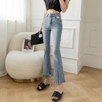 Blue Flarbed Jeans Primavera donna 2021 Moda Nuovo Pantaloni da bootcut a vita alta sono pantaloni sottili e diviso Pantaloni ritagliati JXMYY Y0320