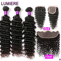 Deep Wave Frontal Brazilian Extension 3 4 Human Bundles With Closure Lumiere Hair Remy