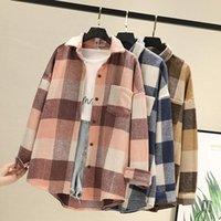 Kış Kalın Yün Ekose Gömlek Ceket Bayan Bluzlar Ve Tops Uzun Kollu Bayan Gevşek Kontrollü Kadın Giyim Dış Giyim Artı Boyutu Kadınlar