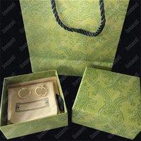 Boucles d'oreilles Charm à double lettre chic avec boîte cadeau goujons de timbres en relief oreilles pour femmes anniversaire de fête