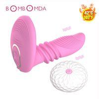 Vibradores Aquecimento Dildo Vibrador Vestível G-Spot Massage USB Carregamento Controle Remoto Sem Fio Clitóris Estimulador Adulto Sexo Brinquedos Para As Mulheres