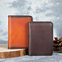 Card Holders Cow Leather Credit ID Holder Name Vintage Design Vegetable Tanned Business Mini Slim Wallet