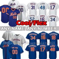 New Baseball Jerseys Men York 12 Francisco Lindor Mets 48 Jacob Degradom Jersey 20 Pete Alonso Darryl 딸기 마이크 Piazza Hernandez Rosario Stroman 사용자 정의 탑