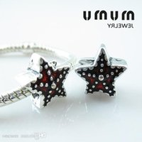 Star Enamel Beads Silver Plated Red Starfish Big Hole Loose Beads Fits European Pan Jewelry Snake Charms Bracelets &Necklance Fre