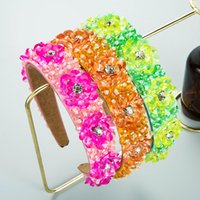 Personality Candy Color Crystal Flower Headband Luxury Sparkly Rhinestone Beaded Hairband Bridal Headwear