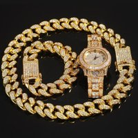 iced 3pcs set Men Hip hop out bling Chain Necklace Bracelets watch 20mm width cuban Chains Necklaces Hiphop charm jewelry gifts