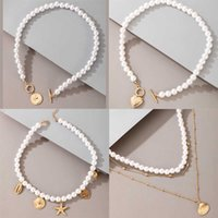 Tocona Luxury Pearl Stone Necklace for Women Charming Summer Shell Starfish Hollow Heart Geometric Pendant Boho Jewelry