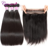 Human Hair Bulks Cynosure Pre Plucked 360 Lace Frontal With Bundle Natural Color Brazilian Straight 3 Bundles Closure Remy