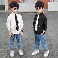 Clothing Sets Boy Suit Boys Children Outfit Kids Spring Autumn Cotton Long Sleeve Necktie Shirt Jeans Pants Trousers 2Pcs 2-8Y B4452