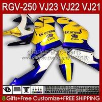 OEM Fairings för SUZUKI RGV250 SAPC VJ23 RVG250 250CC VJ 23 Cowling RGV-250CC 97 98 Bodywork 107HC.23 RGV-250 Panel RGVT-250 RGVT RGV 250 CC 1997 1998 Bodys Blue Yellow