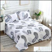 Sheets Bedding Supplies Textiles Home Gardensheets & Sets 34 3 Pcs Bed Set 1 Pc Sheet + 2 Case Queen King Twin Size Cotton Polyester Flat Li