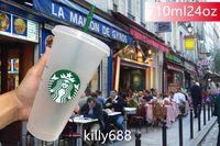 Hot Starbucks 24oz / 710ml Plastica Tumbler Riutilizzabile Trasparente Bere fondo piatto Tazza di fondo a forma di pilastro Paglia Bardian 50pcs