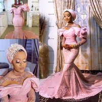 Sheer O-neck Puffy Long Sleeve Wedding Dresses Hot Pink Sparkly Lace Beaded Mermaid African Nigeria Arabic Aso Ebi Bridal Gowns