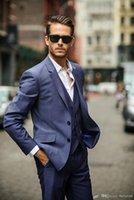 Est Men Suit Blazer Due Button Risvolto Blue Groom Tuxodes Suits (Giacca + Pantaloni + Vest + Tie) Abiti da uomo
