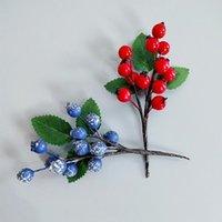 Flores decorativas grinaldas 5 pcs baga azul artificial com folha verde diy christmas guirlanda grinalda acessórios headware casa decorat