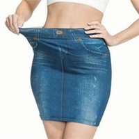 Faldas Falda Faux Denim Falda de moda Impresión de moda Jean Inconsútil Corto Slim Slim Alto Cintura Elástica Polckets Femenino Mini vestido