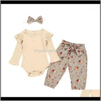 Sets Baby, Kids & Maternityborn Baby Girl Clothes Set Solid Color Long Sleeve Romper +Floral Print Pants+Bow Headband 3Pcs Infant Clothing O