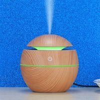 자동차 홈 오피스 침실 fresheners USB 아로마 에센셜 오일 디퓨저 나무 곡물 LED 야간 빛으로 미니 공기 가습기