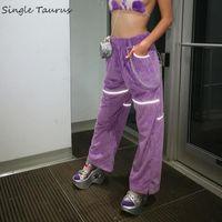 Women's Pants & Capris Corduroy Reflective Women High Waist Loose Causal Purple Clothes Straight Joggers Streetwear Wide Leg 2021