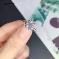 Cluster Rings YUZBT 18K White Gold Plated Excellent Cut 1 Gemstone Diamond Test Past D Color Moissanite Wish Blossom Wedding Ring Gift