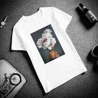 Women's T-Shirt Women Clothes 2021 Tumblr Harajuku Ulzzang Vintage Kawaii Streetwear Flowers Feather Print White Casual Tees Shirt Femme