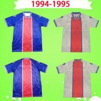 PSG 1994 1995 Mailleots de Football Kit الرجعية باريس كرة القدم الفانيلة الفئران Guerin 94 95 كلاسيكي خمر قميص المنزل أزرق بعيدا أبيض جودة التايلاندية
