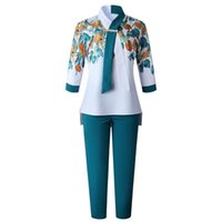 Ethnic Clothing 2 Piece Sets Africa Women Plus Size Pant Suits Ladies Business Office Shirt Tops And Pants African Set For