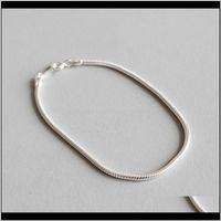 Beaded, Strands Jewelry100Percent 925 Sterling Sier Bracelets &Bangle 2Mm Snake Bracelet For Women Pulseira Feminina 16Cm Chain Drop Delivery