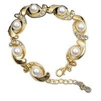 17 cm moda cadena de mano joyería creativa shell perla pulsera aleación 2 colores oro chapado con caja